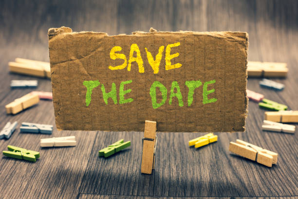 Writing note showing Save The Date. Business photo showcasing Systematized events Scheduled activity Recorded Filed Clothespin holding paperboard important communicating message ideas. stock photo