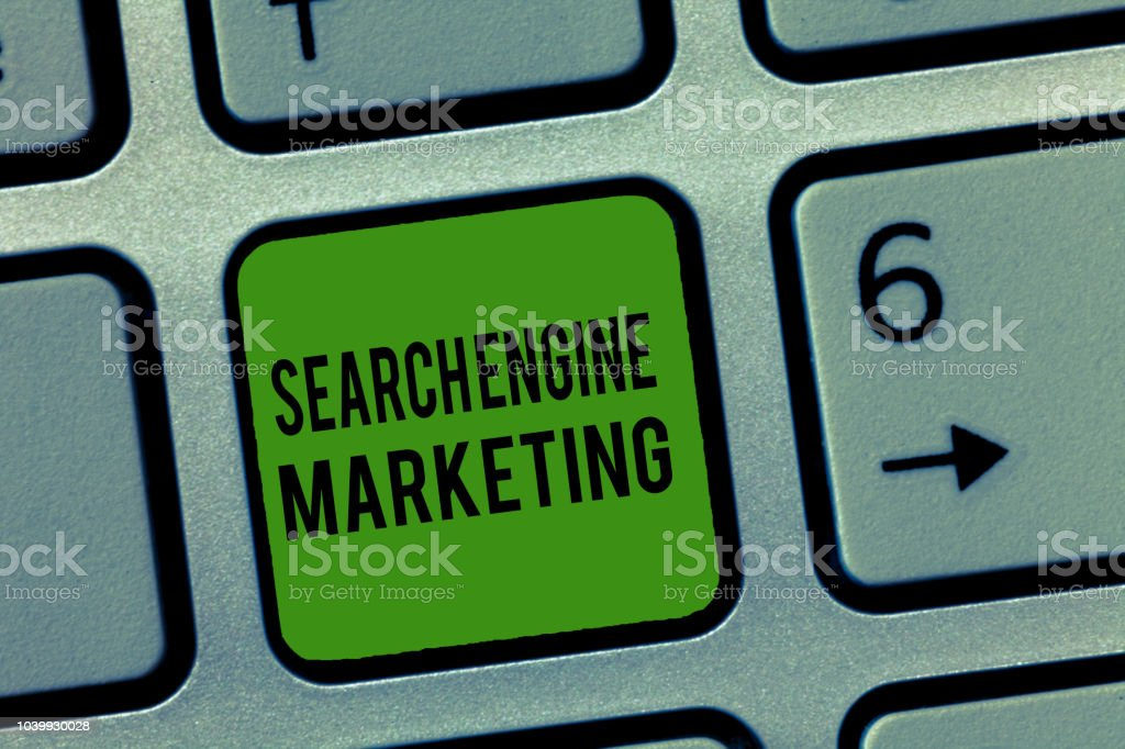 Writing note showing Search Engine Marketing. Business photo showcasing promote Website visibility on searched result pages – zdjęcie