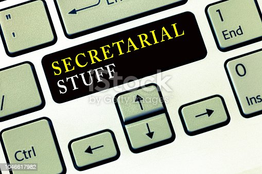 istock Writing note showing Secretarial Stuff. Business photo showcasing Secretary belongings Things owned by personal assistant 1046617982
