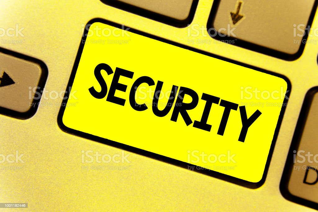 Writing note showing Security. Business photo showcasing The state of feeling safe stable and free from fear or danger Keyboard yellow Intention create computer computing reflect document. stock photo