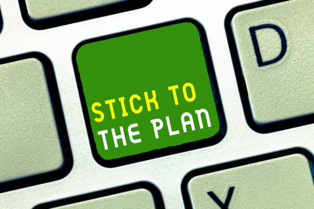 writing note showing stick to the plan. business photo showcasing to adhere to some plan and not deviate from it follow - deviate stock pictures, royalty-free photos & images