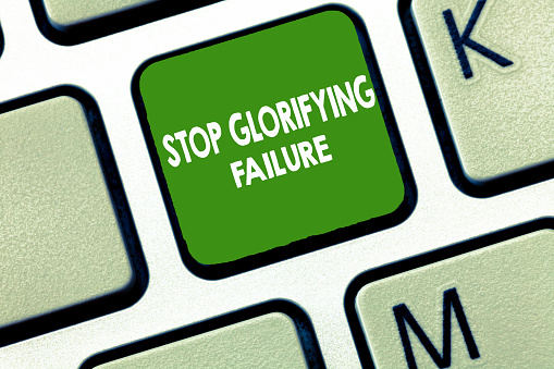 istock Writing note showing Stop Glorifying Failure. Business photo showcasing do not let Breakdown Rule your life Try again 1039930158