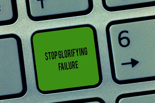 istock Writing note showing Stop Glorifying Failure. Business photo showcasing do not let Breakdown Rule your life Try again 1039954962