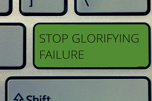 istock Writing note showing Stop Glorifying Failure. Business photo showcasing do not let Breakdown Rule your life Try again 1039955068