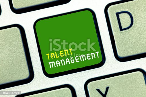 istock Writing note showing Talent Management. Business photo showcasing Acquiring hiring and retaining talented employees 1046617836