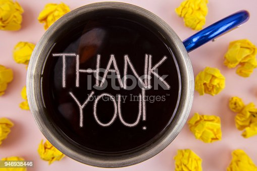 1068057218 istock photo Writing note showing  Thank You Motivational Call. Business photo showcasing Appreciation greeting Acknowledgment Gratitude written on Black Tea in Cup within Paper Balls on plain background. 946938446