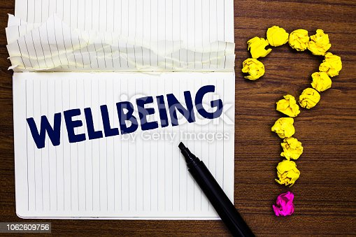 istock Writing note showing Wellbeing. Business photo showcasing A good or satisfactory condition of existence including health Notebook marker crumpled paper forming question mark wooden background. 1062609756