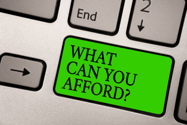 Writing note showing What Can You Afford question. Business photo showcasing Give us your budget availability of money Silver grey computer keyboard green button with black letters. stock photo