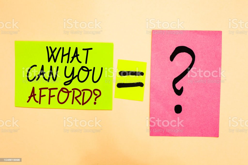 Writing note showing What Can You Afford question. Business photo showcasing Give us your budget availability of money Written on green sticky note on yellow and question mark on pink paper. stock photo