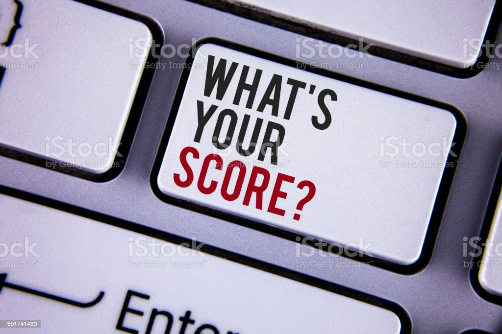 Writing note showing  What Is Your Score Question. Business photo showcasing Tell Personal Individual Rating Average Results written on white keyboard key with copy space. Top view. stock photo