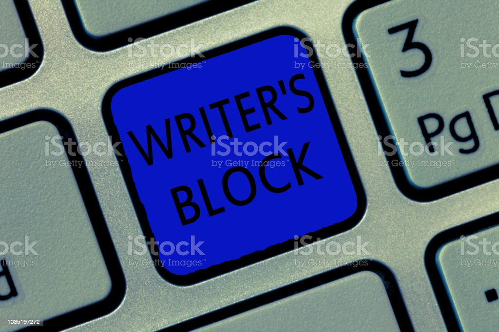 Writing note showing Writer s is Block. Business photo showcasing Condition of being unable to think of what to write stock photo