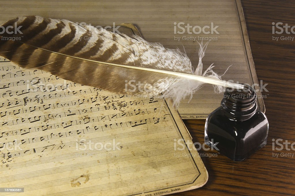 Writing of an old musical score royalty-free stock photo