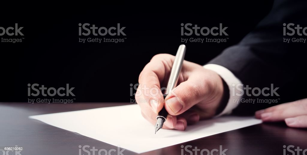 Writing Official Document stock photo