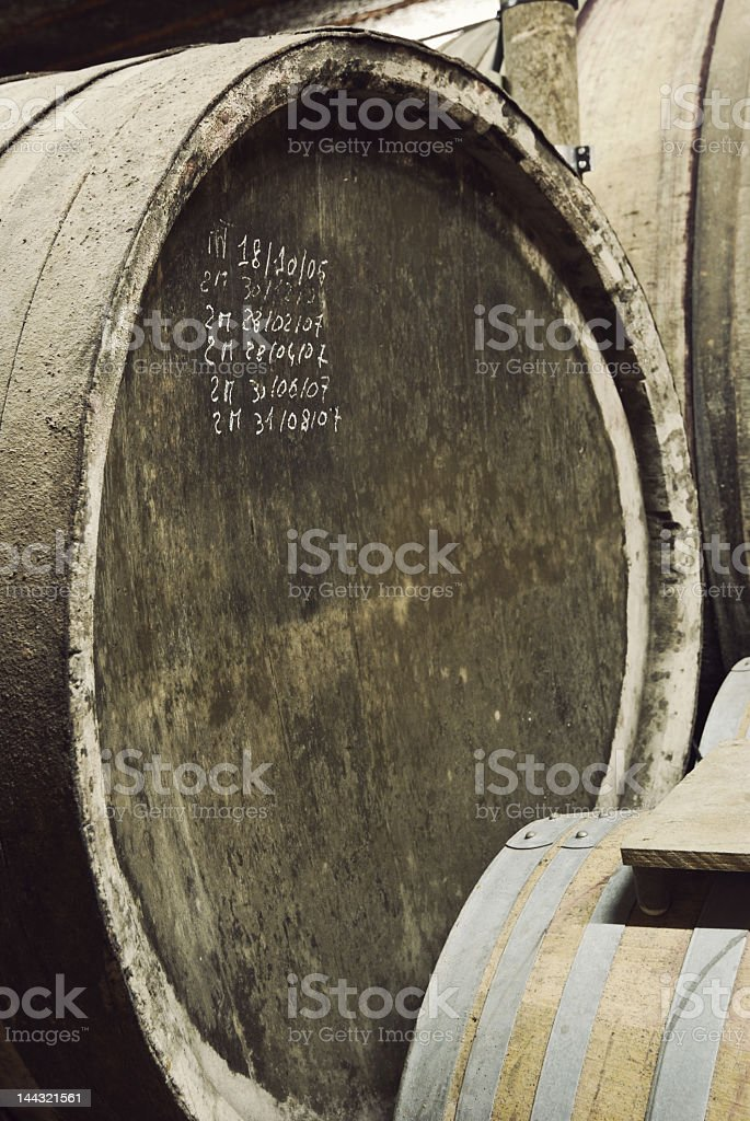Writing on Barrel of wine stock photo