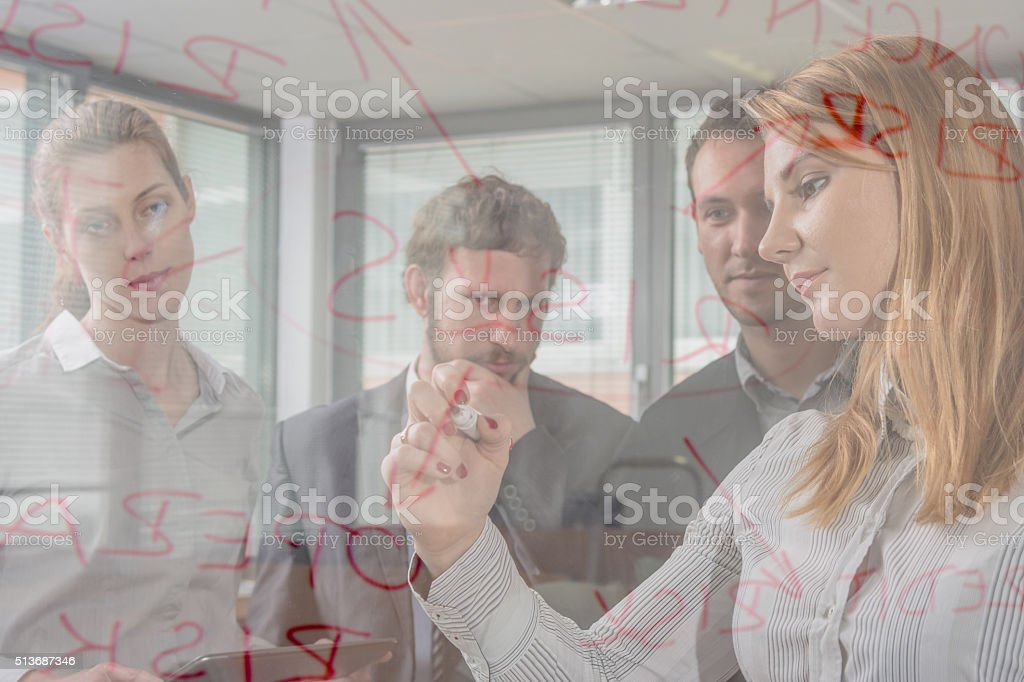 Writing on board key points of meeting stock photo