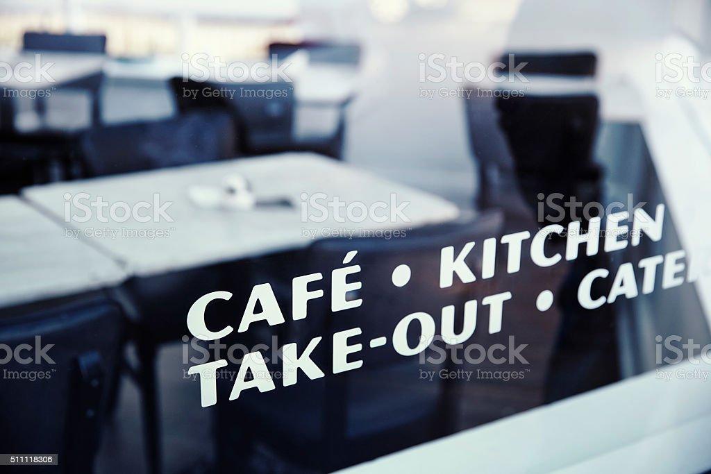 Writing on cafe window stock photo