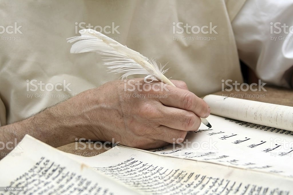 Writing on parchment stock photo