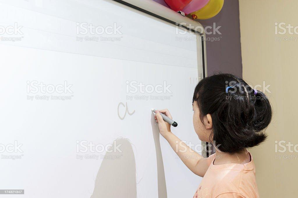 Writing on white board stock photo