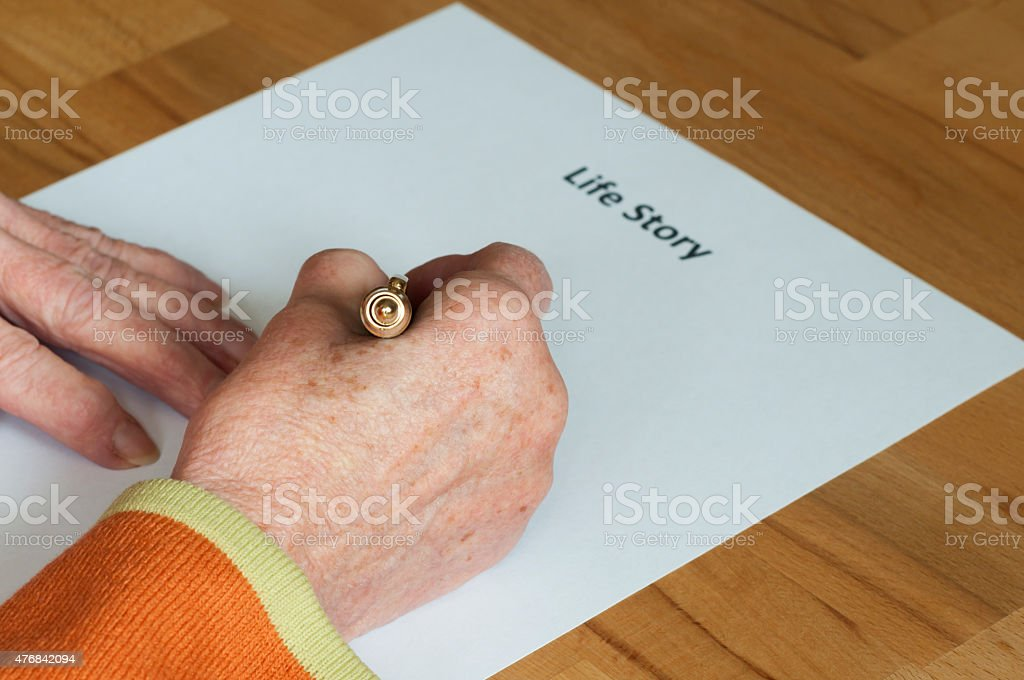 Writing one's own biography stock photo