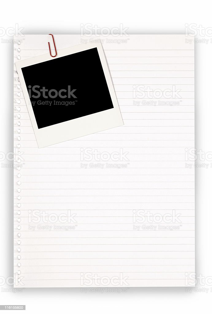 Writing paper with blank instant print picture royalty-free stock photo