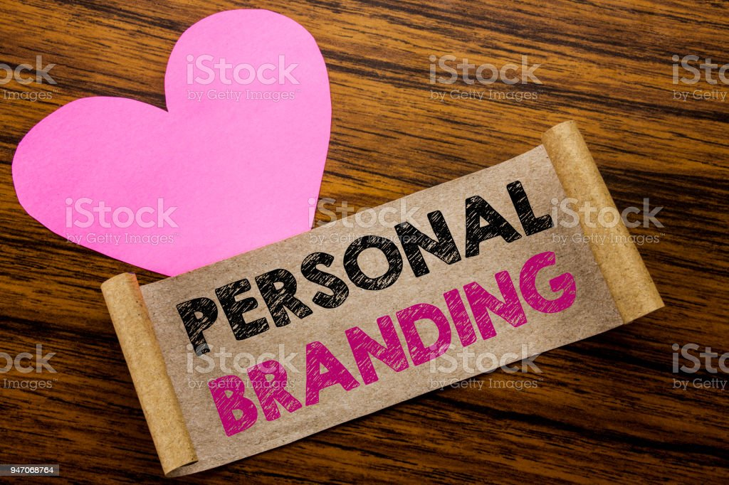 Writing text showing Personal Branding. Business concept for Brand Building written on sticky note paper, wooden wood background. With pink heart meaning love adoration. – zdjęcie