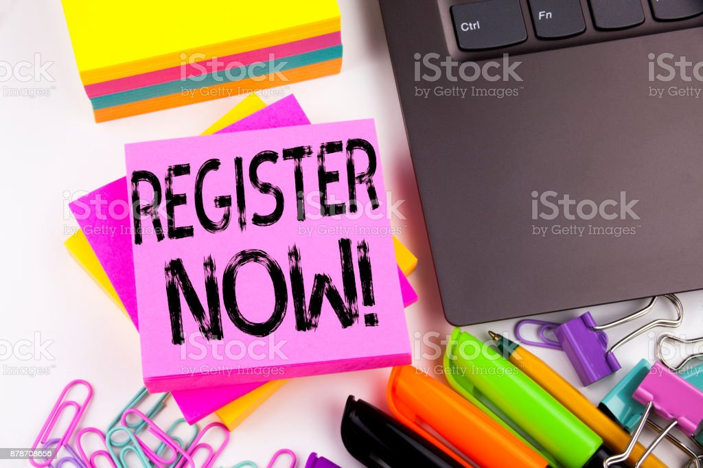 Writing text showing Register Now made in the office with surroundings such as laptop, marker, pen. Business concept for Internet Registration Subscribe Workshop white background with copy space stock photo