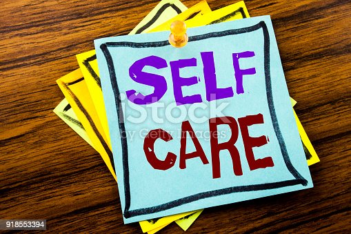 1175869940istockphoto Writing text showing Self Care. Business concept for Taking caring for own Health written on sticky note paper on the wooden background. 918553394