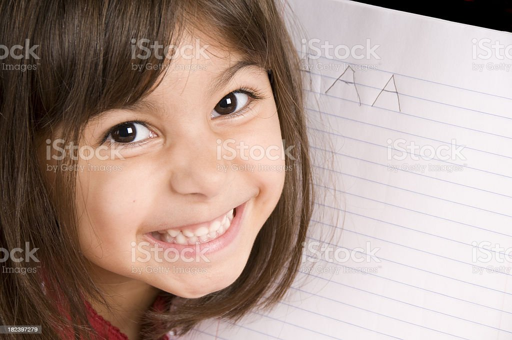 Writing the Letter A stock photo
