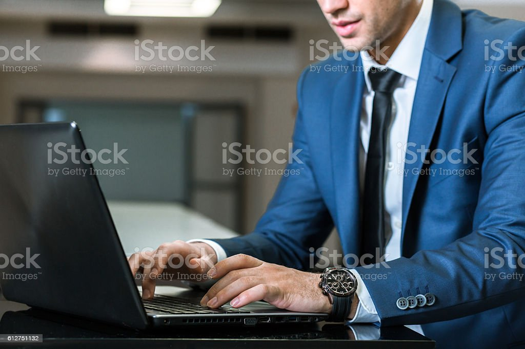 Writing the mail responses stock photo