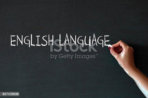 1094837778 istock photo Writing the word English Language on a blackboard 847426536