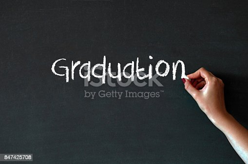 1094837778 istock photo Writing the word Graduation on a blackboard 847425708