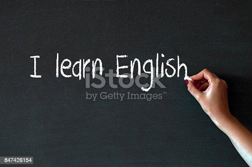 1094837778 istock photo Writing the word I Learn English on a blackboard 847426154