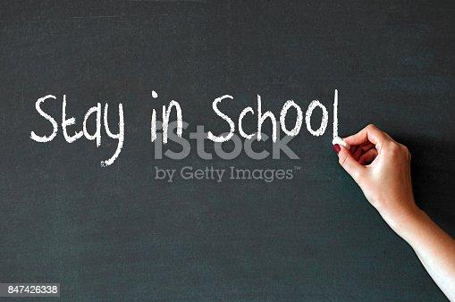 istock Writing the word Stay in school on a blackboard 847426338