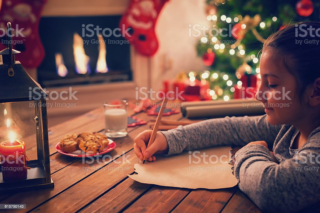 Writing to Santa Claus stock photo