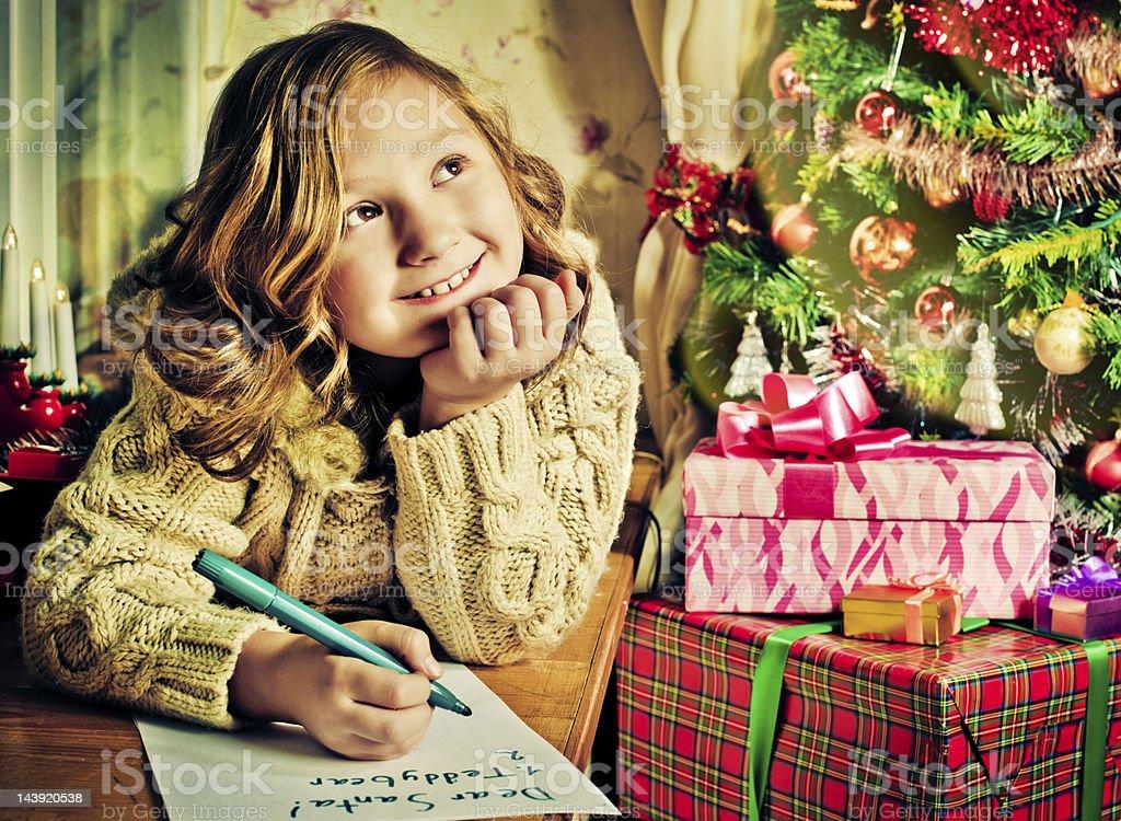 Writing to Santa stock photo