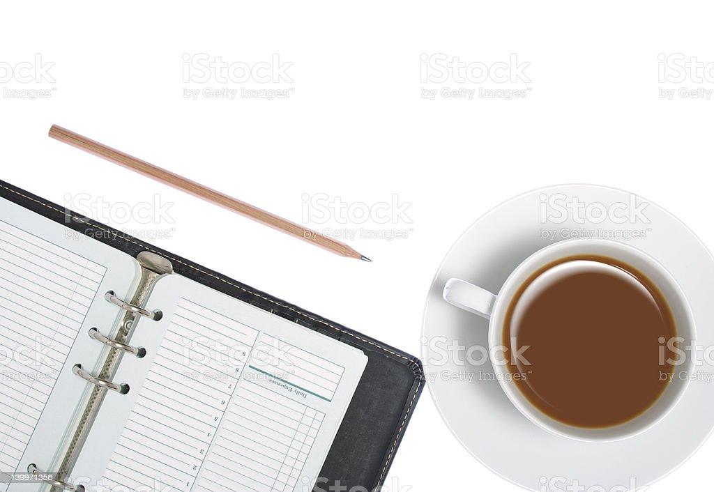 Writing utensils on white background royalty-free stock photo