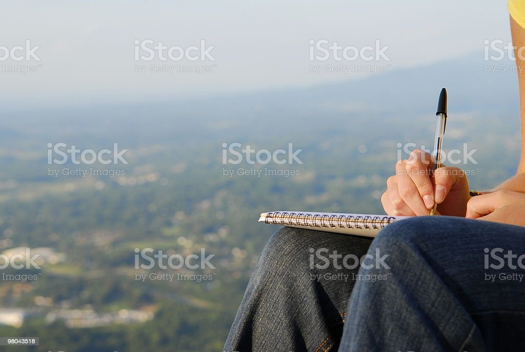 Writing with Pen and Paper royalty-free stock photo