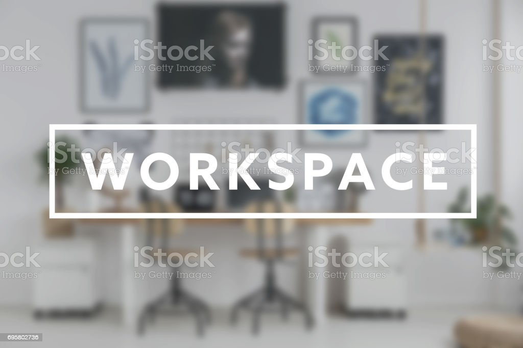 Writing 'Workspace' and home office stock photo