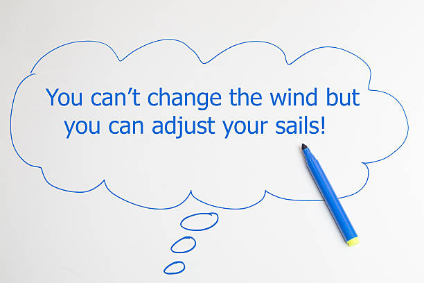 writing You can not change the wind but you can stock photo