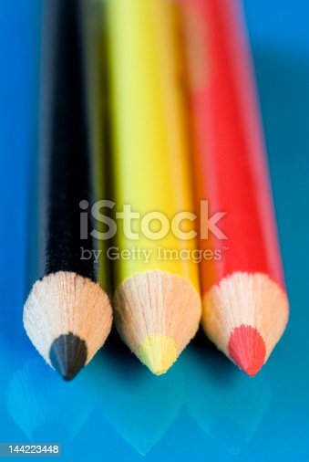 Pencils lined up in German colours
