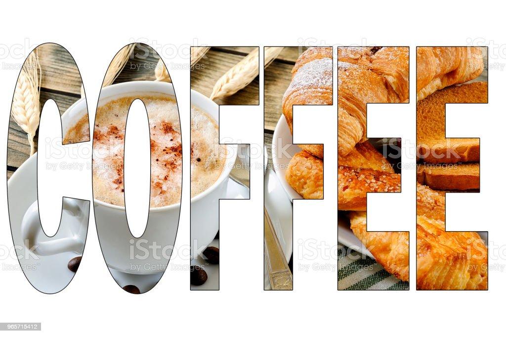 Written COFFE with Italian breakfast food background - Стоковые фото Ароматический роялти-фри