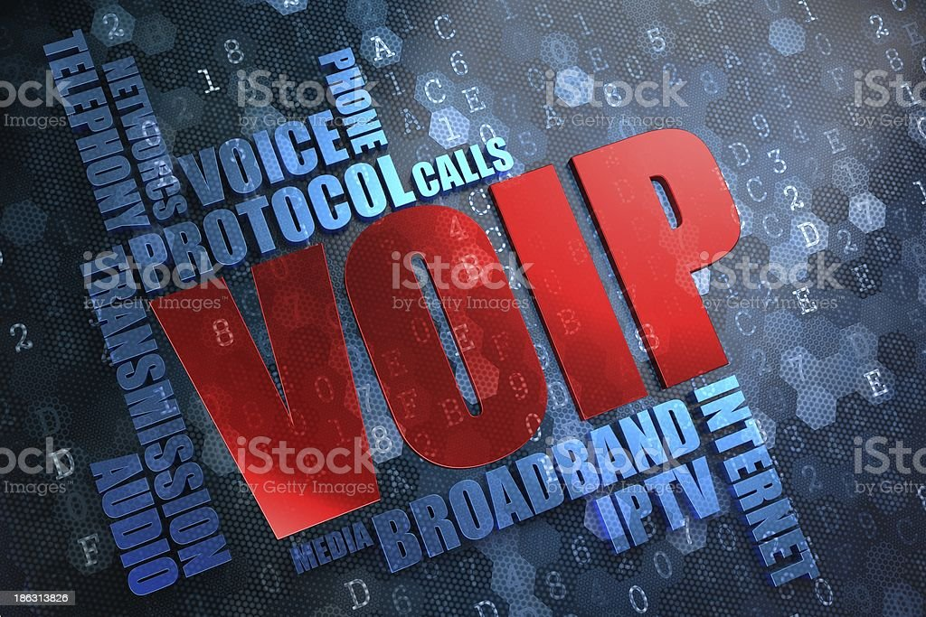 VOIP written in a word cloud in red and blue stock photo