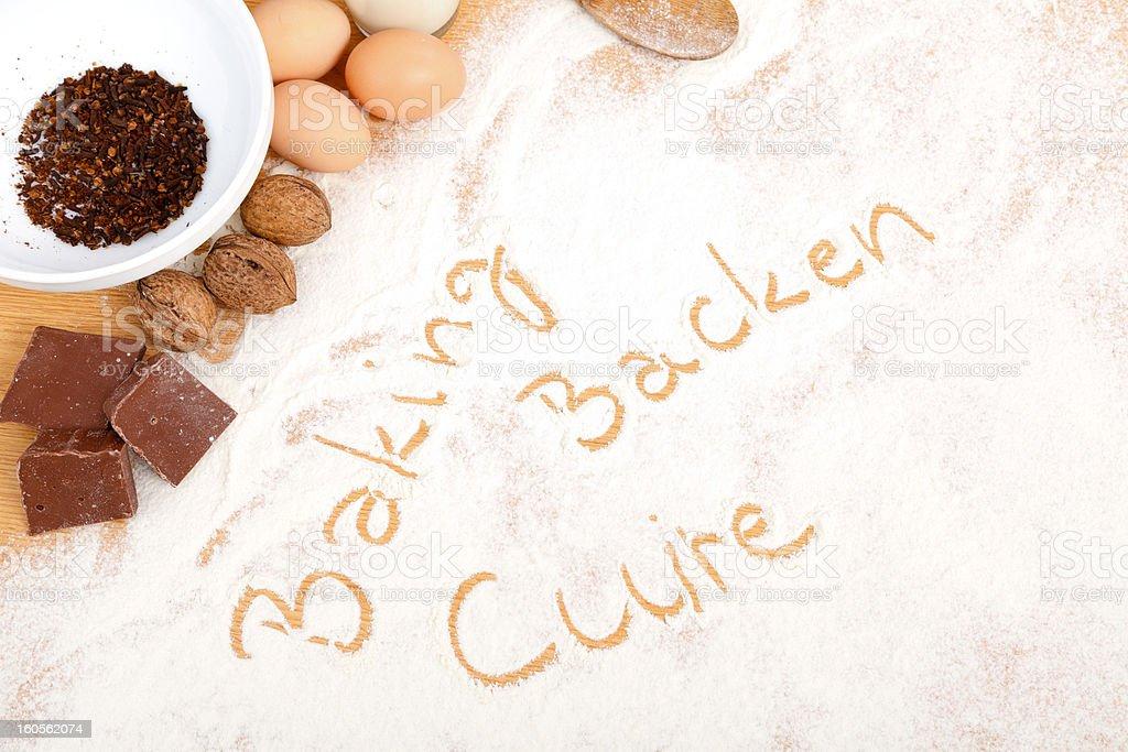 Written in flour - baking, backen, cuire royalty-free stock photo