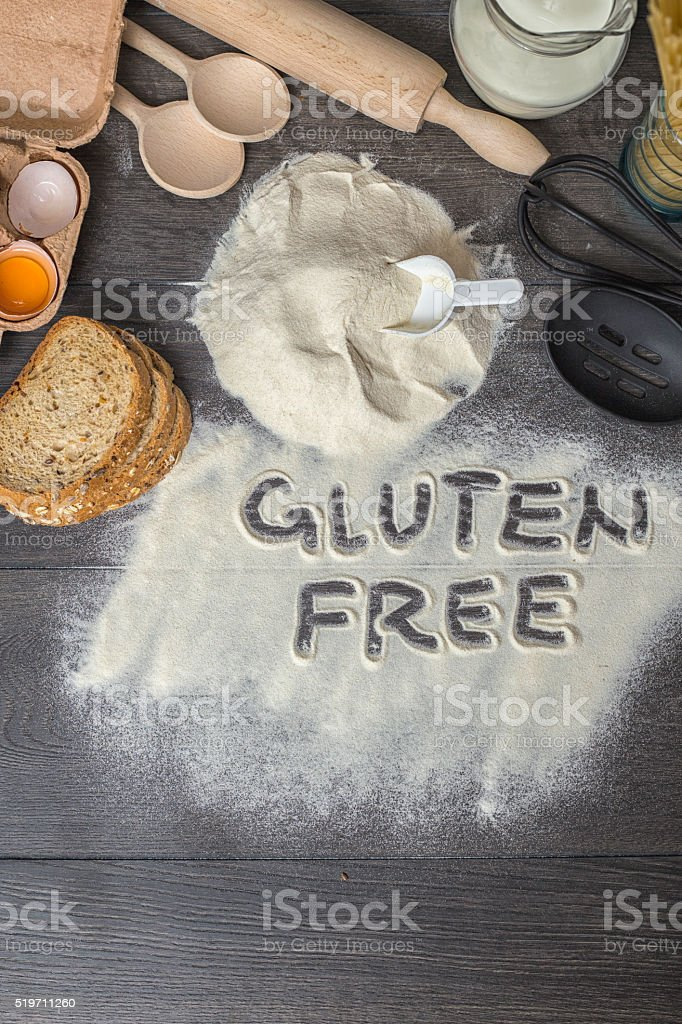 Written in gluten free flour stock photo