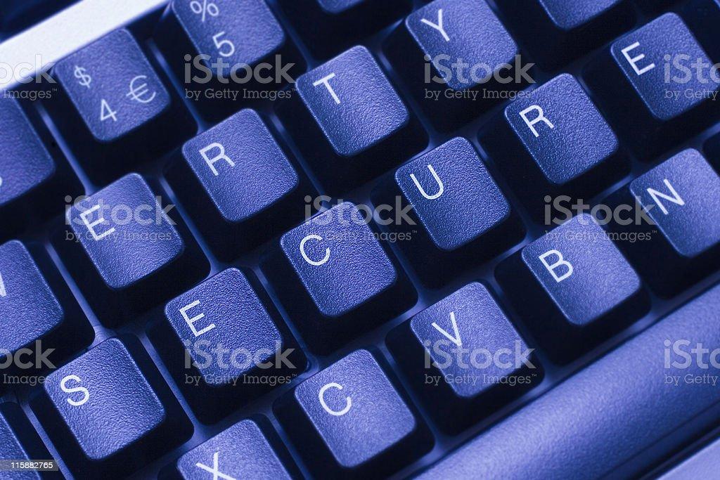 SECURE written in keys on blue computer keyboard royalty-free stock photo