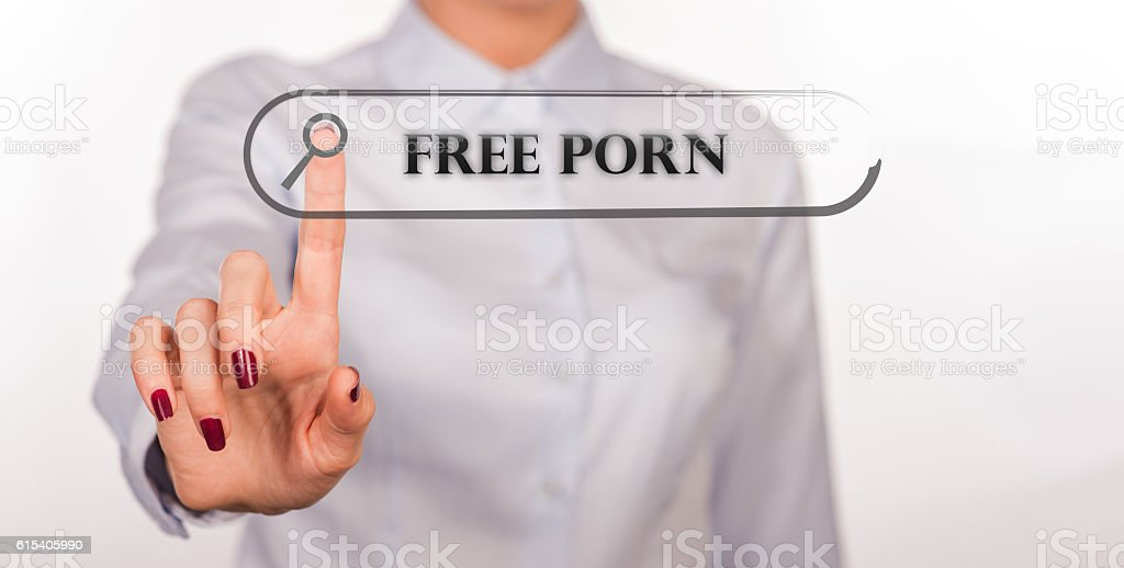 Free Porn Written In Search Bar On Virtual Screen Foto De Stock Libre De Derechos