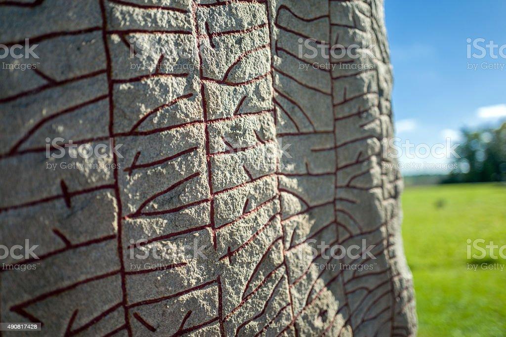Written in stone by Vikings stock photo