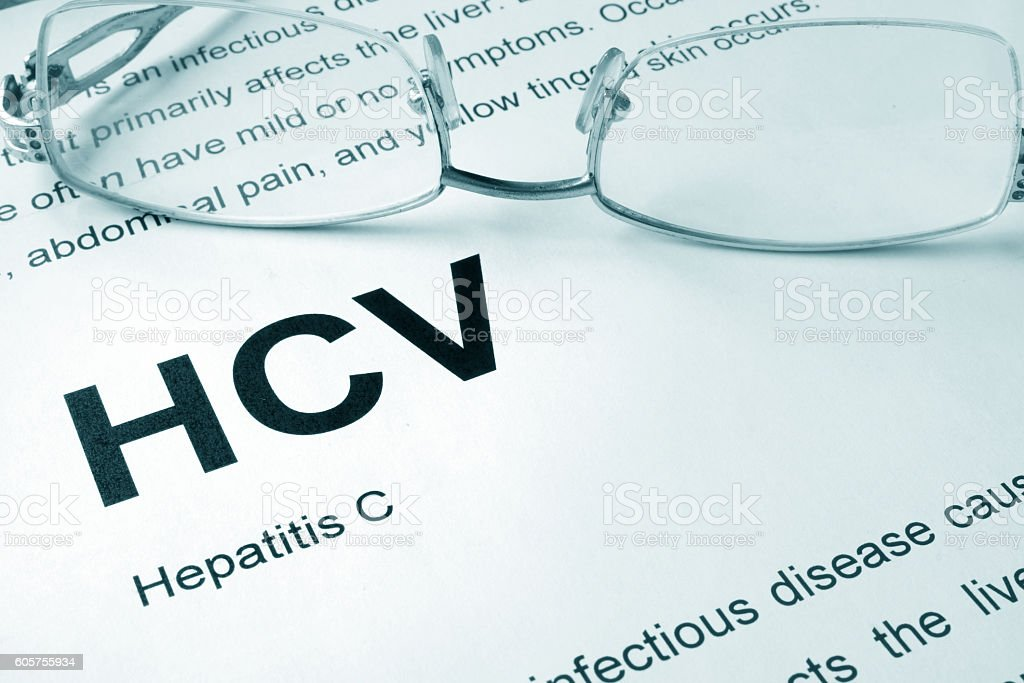 HCV written on a page. Medical concept. stock photo