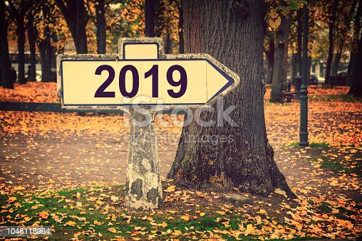 istock 2019 written on an old french roadsign, fall background 1048118964