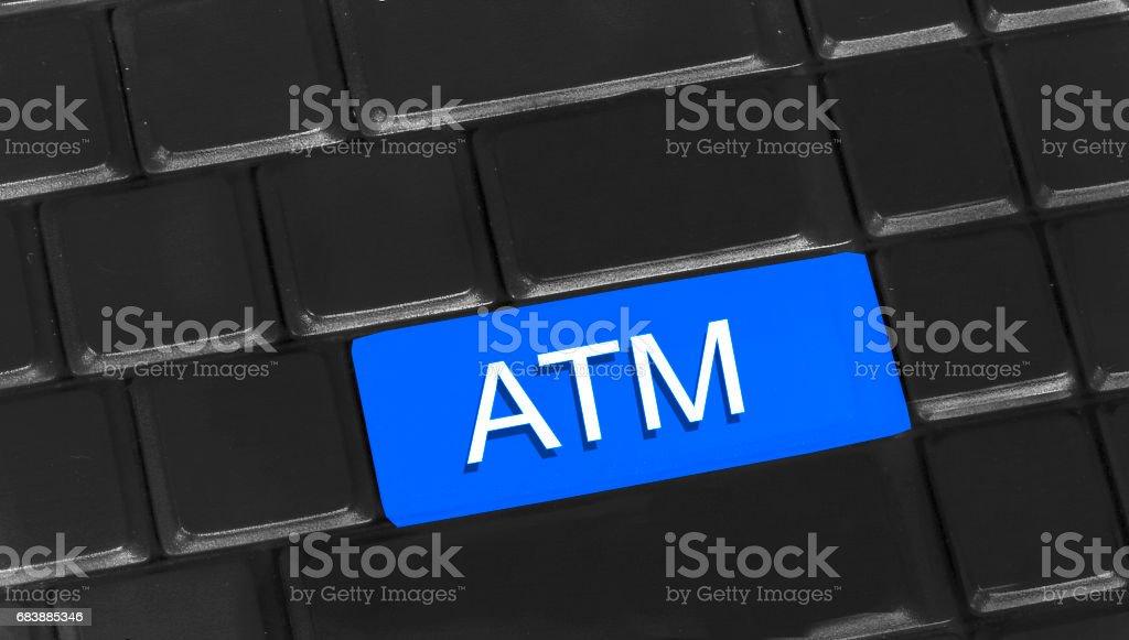 ATM written on keyboard stock photo